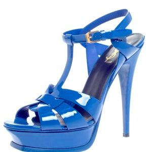 Saint Laurent Blue Tribute Patent Platform Sandals
